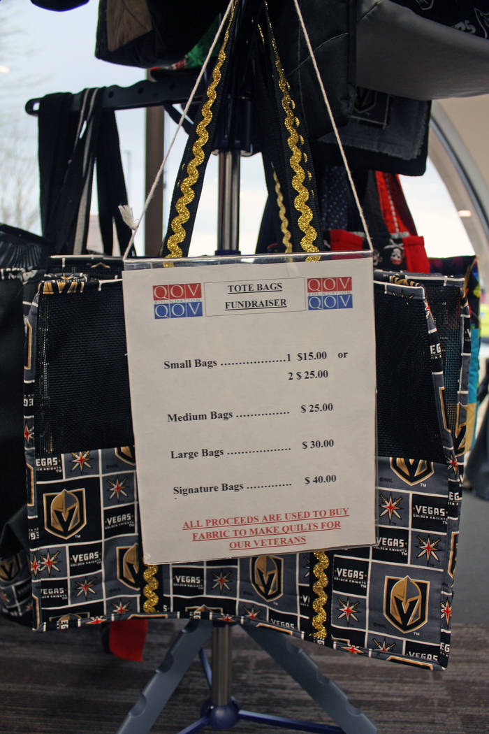 Robin Hebrock/Pahrump Valley Times Utilizing scraps from their Quilts of Valor creations, the Nye County Valor Quilters create items like the bags shown, which are sold as a fundraising method.