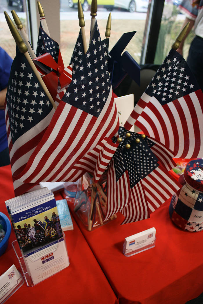Robin Hebrock/Pahrump Valley Times Brochures filled with information on the Nye County Valor Quilters were placed on a table decorated in patriotic style.