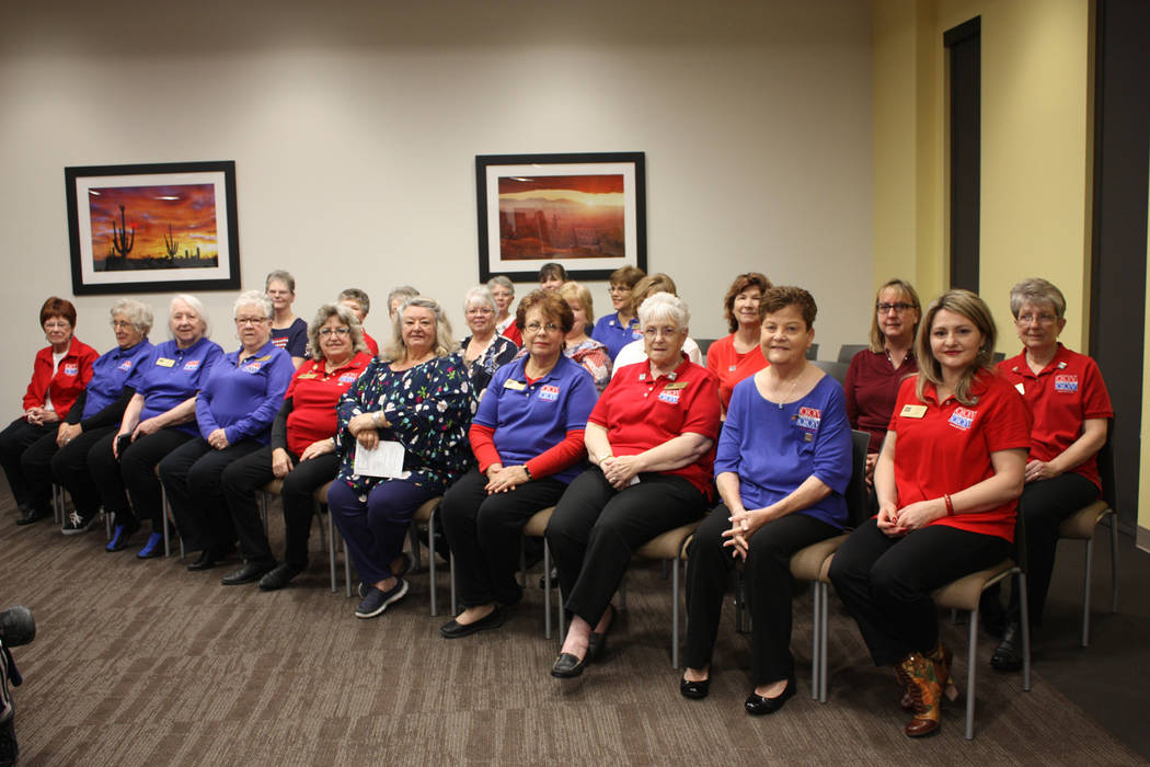 Robin Hebrock/Pahrump Valley Times Members of the Nye County Valor Quilters await the start of the group's most recent presentation ceremony, which brought the total number of quilts of valor made ...