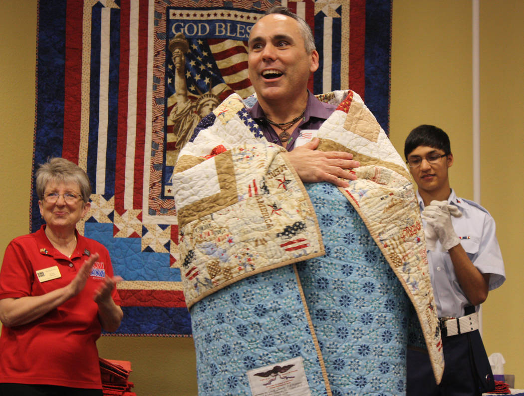 Robin Hebrock/Pahrump Valley Times Jack Thomas of the U.S. Marine Corps shown wrapped in his Quilt of Valor.
