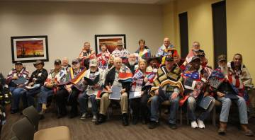Robin Hebrock/Pahrump Valley Times More than two dozen area veterans were honored with their own specially made Quilts of Valor during the Nye County Valor Quilters' March 2 presentation ceremony.