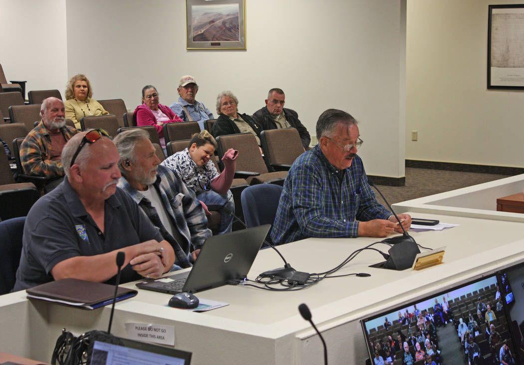 Robin Hebrock/Pahrump Valley Times Shown from left to right are Nye County residents Brian Shoemake, Frank Carbone and Robert Thomas III, all of whom spoke in favor of a resolution outlining oppos ...