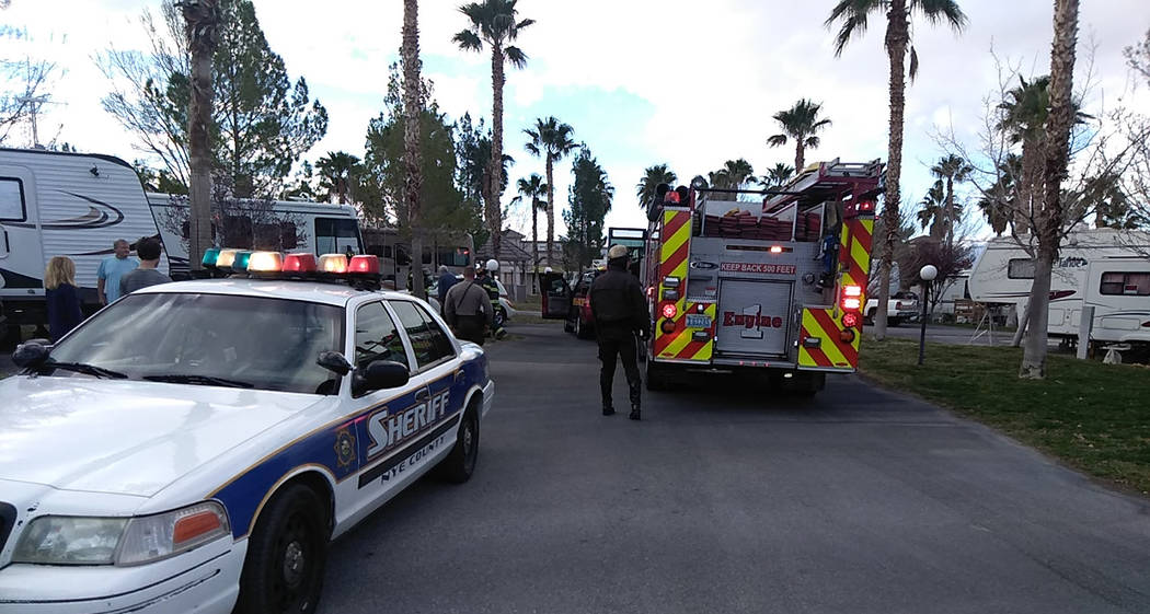 Selwyn Harris/Pahrump Valley Times A man escaped serious injury on Tuesday March 12 after attempting to light the pilot on a propane-fired furnace inside his motorhome at a local RV park. Fire Chi ...