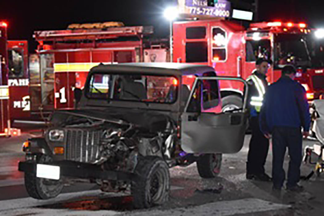 Special to the Pahrump Valley Times One person was transported to Desert View Hospital following a two-vehicle collision at the intersection of Basin Avenue and Highway 160 at approximately 7:30 p ...