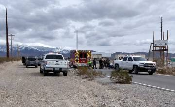 Selwyn Harris/Pahrump Valley Times Pahrump Valley Fire and Rescue crews transported two Nye County Sheriff's Office deputies following a crash as both were practicing maneuvers on their 1450 cc V- ...