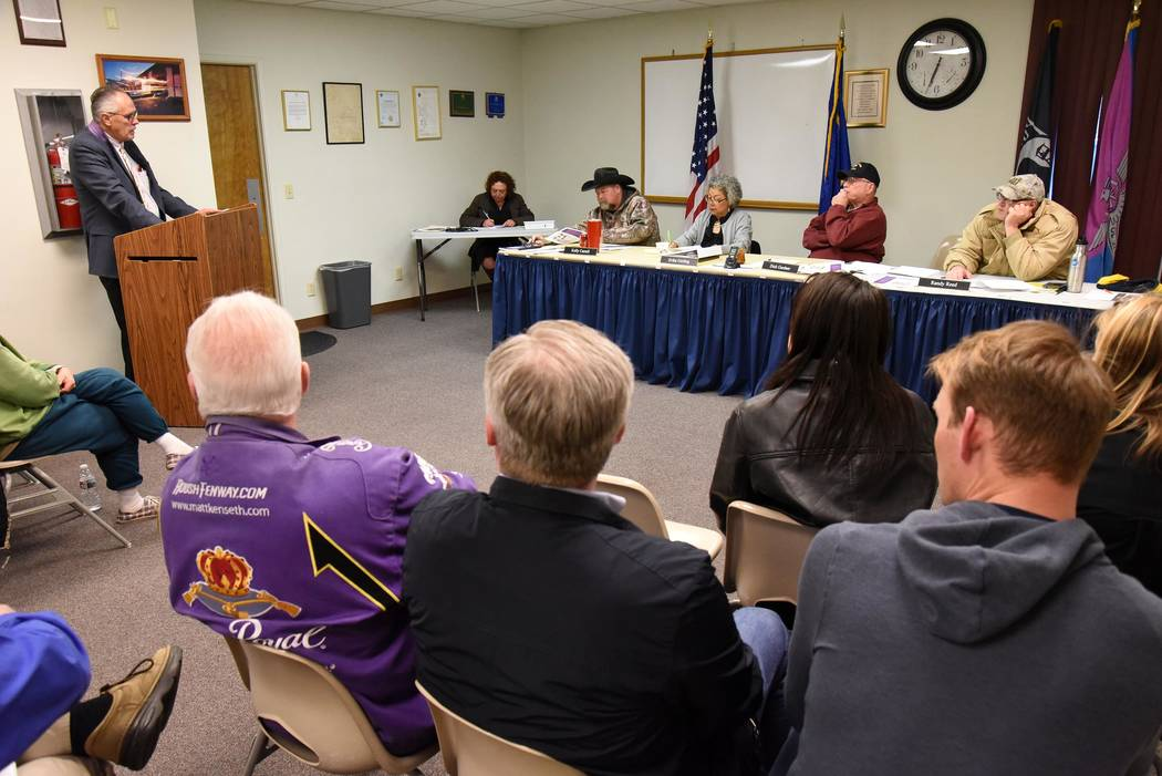 Richard Stephens / Special to the Pahrump Valley Times First Person Care Clinic Director of Business Affairs John Williams addresses the Beatty Town Advisory Board March 11. The non-profit organiz ...