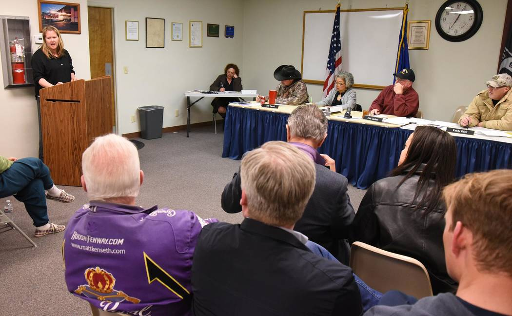 Richard Stephens / Special to the Pahrump Valley Times Joni Stumpf from Rainbow Helping Hands addresses the Beatty Town Advisory Board March 11. She stated that they will be bringing drug, alcohol ...
