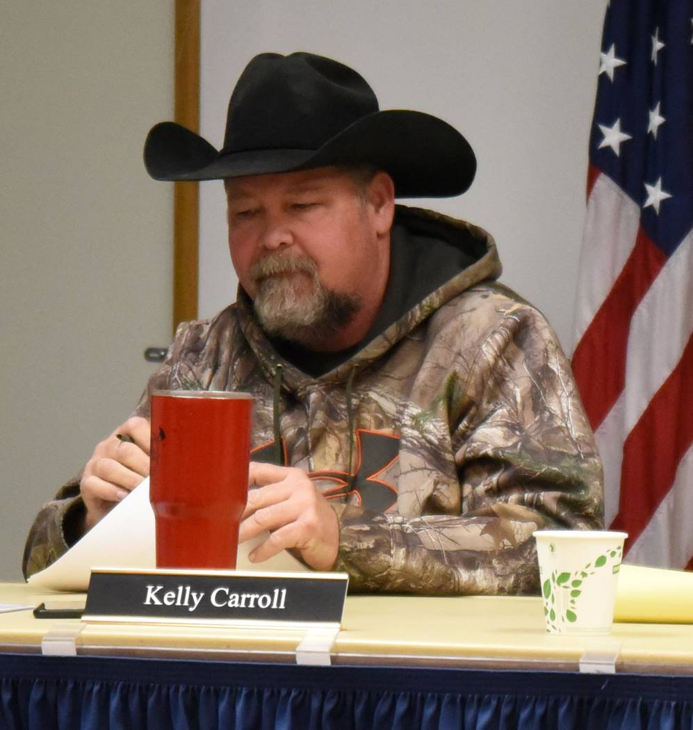 Richard Stephens / Special to the Pahrump Valley Times Kelly Carroll just after he announced his resignation from the Beatty Town Advisory Board at the end of the meeting held March 11.