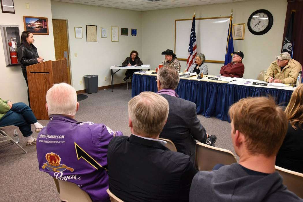 Richard Stephens / Special to the Pahrump Valley Times First Person Care Clinic CEO Rosana Valeton addresses the Beatty Town Advisory Board March 11. The non-profit organization is seeking to brin ...