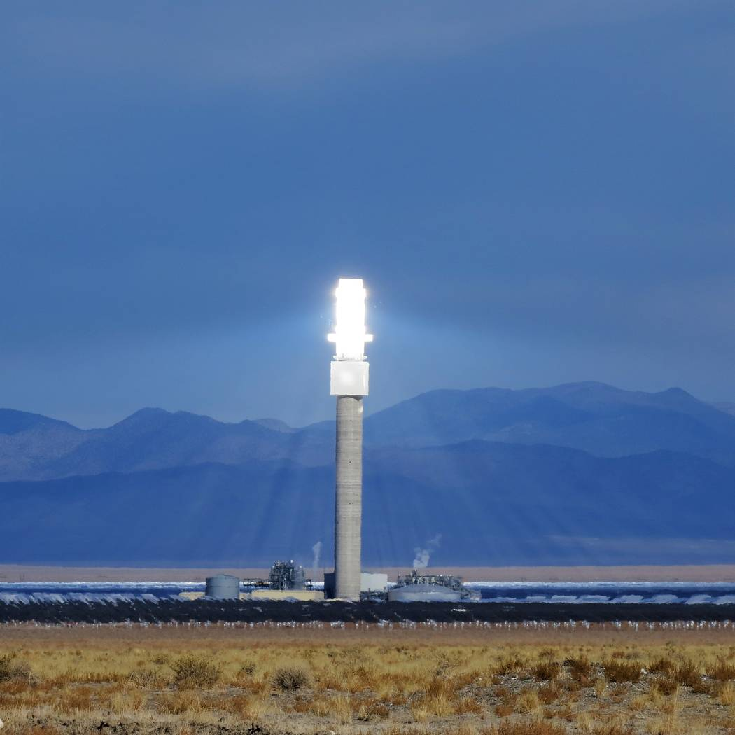 Special to the Pahrump Valley Times The radiant solar flux is seen at Crescent Dunes Solar Energy Plant near Tonopah as shown in a file photo.