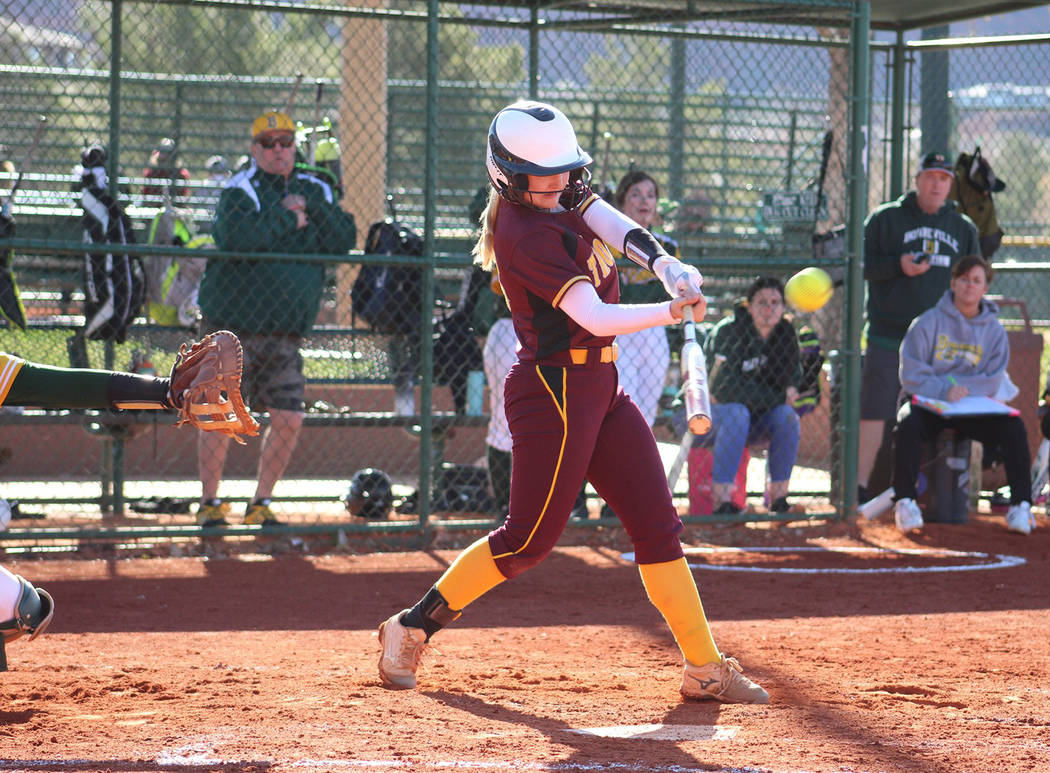 Special to the Pahrump Valley Times Pahrump Valley senior Jackie Stobbe connects for a 2-run home run Friday during a 16-6 victory over Bonneville, Idaho, in St. George, Utah.