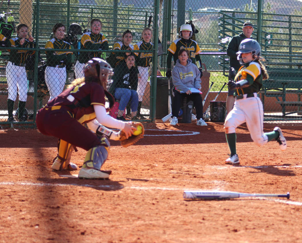 Special to the Pahrump Valley Times Junior catcher McKayla Bartley prepares to make the tag on a Bonneville, Idaho, runner trying to score Friday during Pahrump Valley's victory over the Bees in S ...