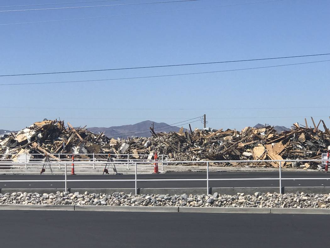 Jeffrey Meehan/Pahrump Valley Times A castle-style building that once housed the Kingdom Gentlemen's Club was reduced to rubble in March. Owners of the site at 2310 S. Highway 160 plan to redevelo ...