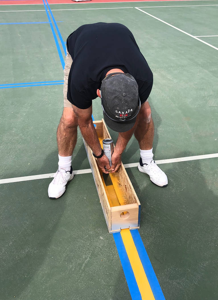 Tom Rysinski/Pahrump Valley Times Jim Groebner applies paint to a Petrack Park tennis court on ...
