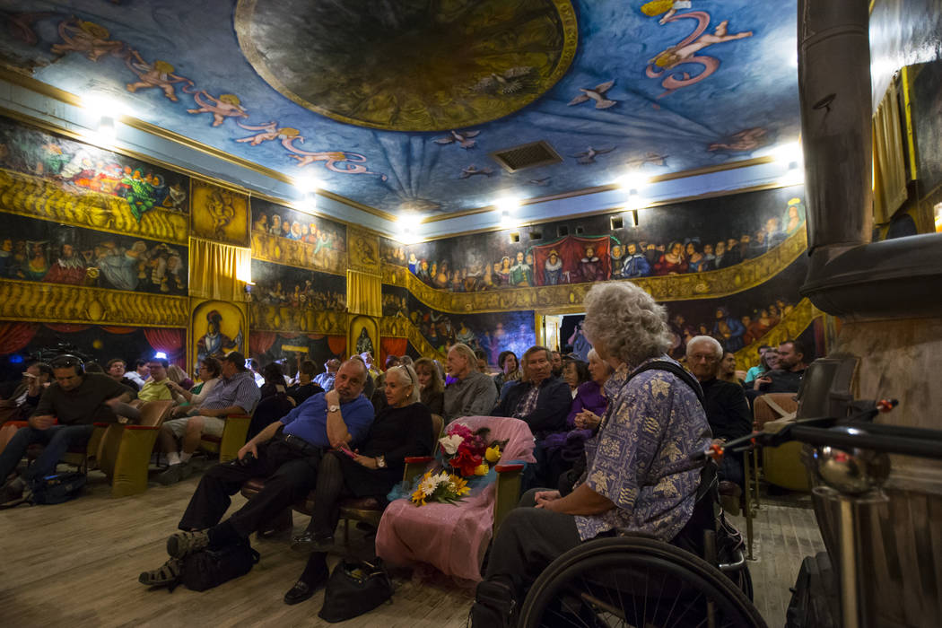 A seat in the front row is left in honor of Marta Becket before the season-opening performance at the Amargosa Opera House in Death Valley Junction, Calif. on Friday, Oct. 20, 2017. Chase Stevens ...