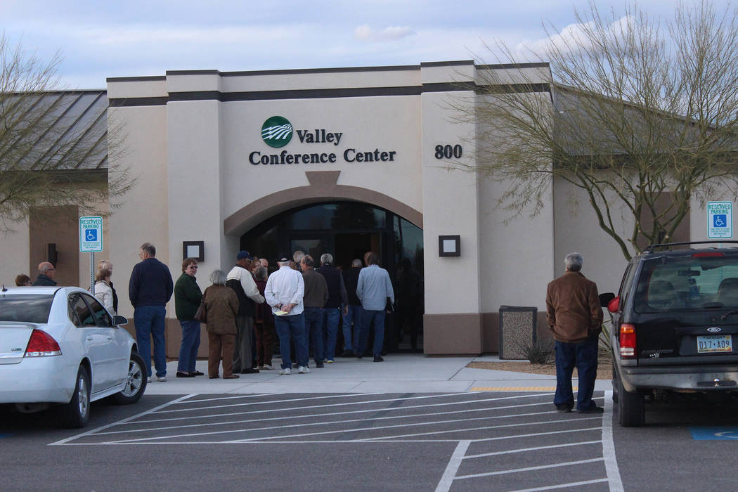 Jeffrey Meehan/Pahrump Valley Times People line up to enter Valley Electric Association's annual District 1 meeting in Pahrump on March 7, 2019. The meeting occurred at Valley's conference center.