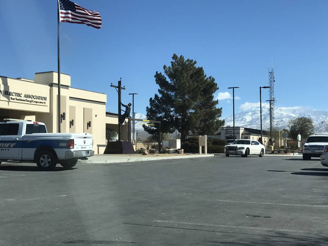 Jeffrey Meehan/Pahrump Valley Times Several marked and unmarked sheriff's vehicles could be seen in front of Valley Electric Association's administrative offices on Feb. 22. The Nye County Sheriff ...