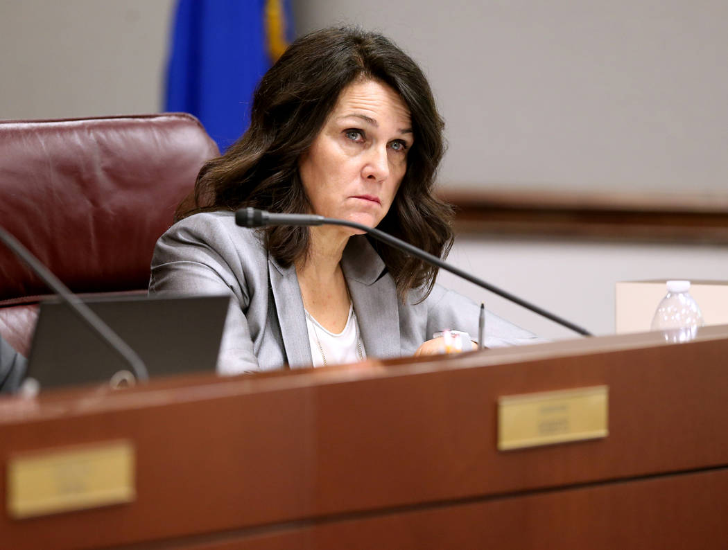 Assemblywoman Alexis Hansen, R-Sparks, listens to testimony during a Judiciary Committee meeting in the Legislative Building in Carson City on the first day of the 80th session of the Nevada Legis ...