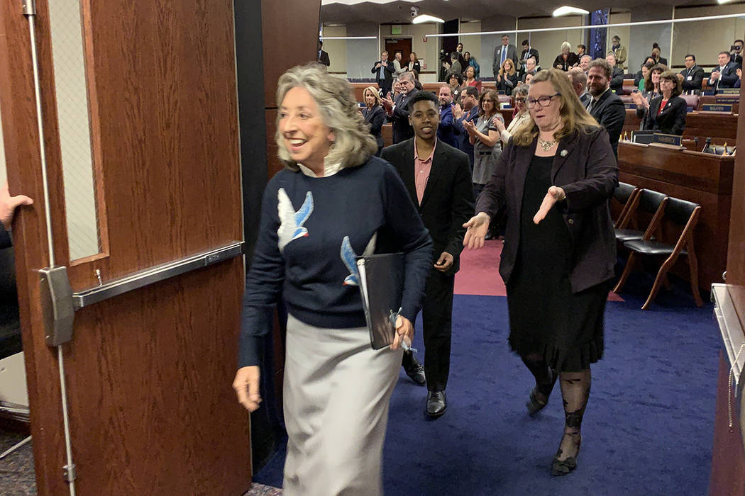 U.S. Rep. Dina Titus, D-Nevada, leaves the state Assembly chambers in Carson City Tuesday after delivering remarks to a joint session of the state Legislature. March 19, 2019. (Bill Dentzer/Las Ve ...