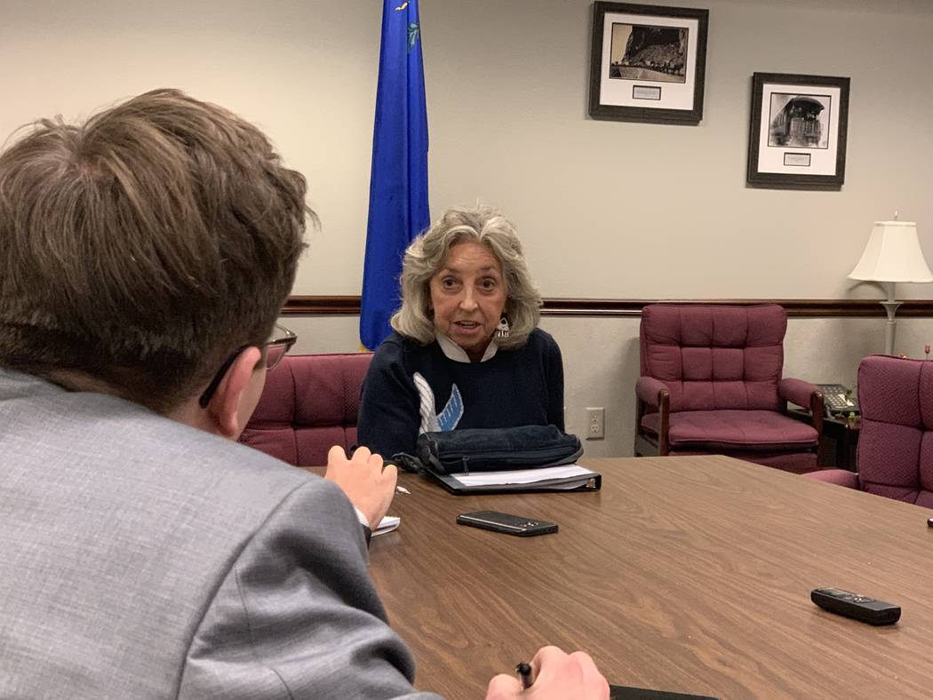 U.S. Rep. Dina Titus, D-Nevada, speaking to reporters following her remarks to a joint session of the state Legislature Tuesday, March 19, 2019. (Bill Dentzer/Las Vegas Review-Journal)