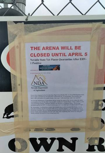 Selwyn Harris/Pahrump Valley Times McCullough Arena at Basin Avenue and Whitney Lane will remain closed for two weeks due to the equine virus outbreak, prompting State Veterinarian Dr. JJ Goicoech ...