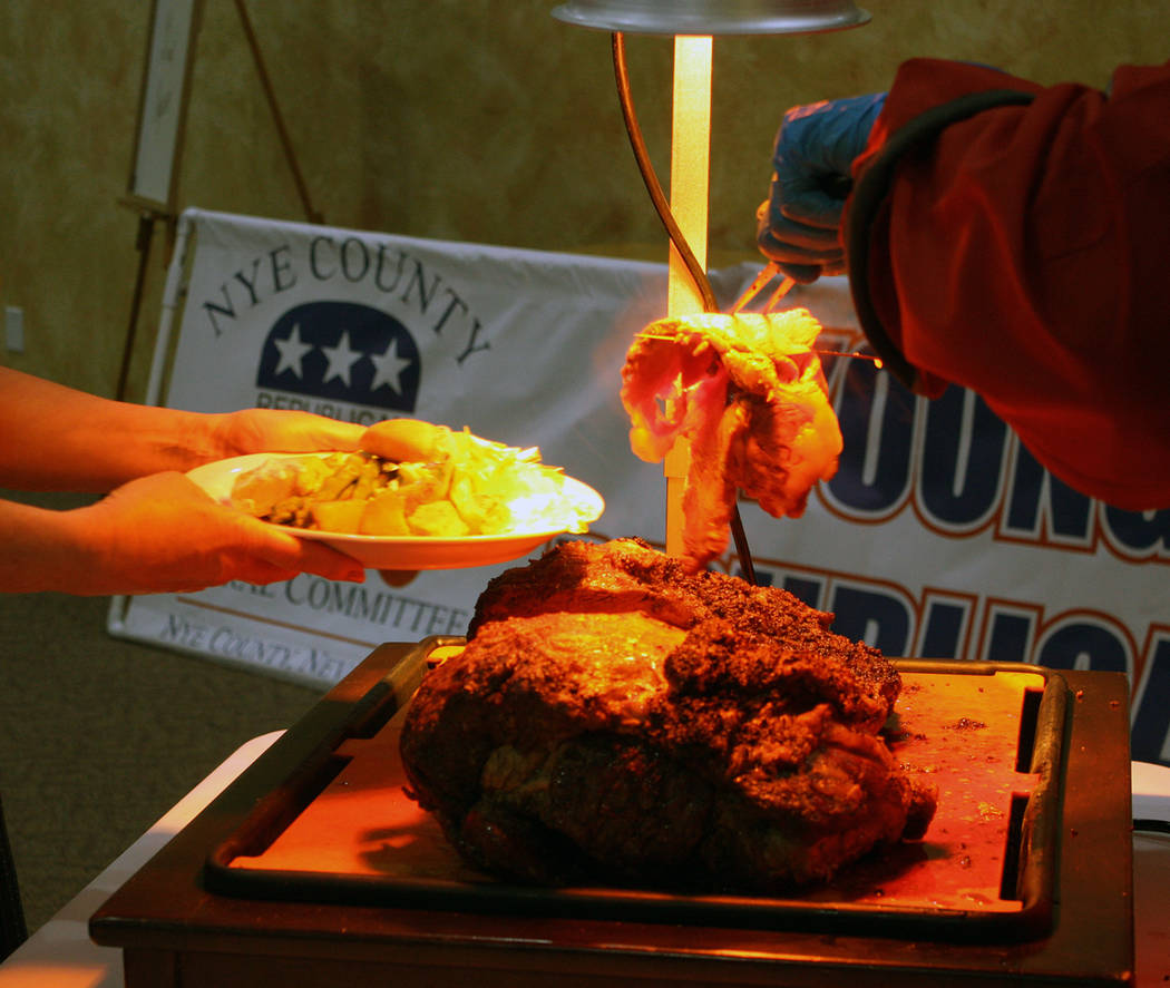 Robin Hebrock/Pahrump Valley Times Prime rib was sliced up for hungry patrons of the Lincoln Day Dinner, held at Nevada Treasure RV Resort.