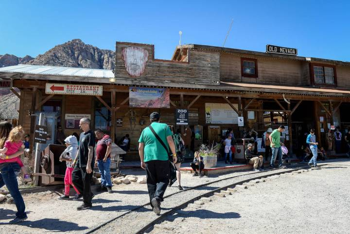 People gather at the entrance of the Old Nevada Western town on the last day of operations at Bonnie Springs Ranch in Las Vegas, Sunday, March 17, 2019. (Caroline Brehman/Las Vegas Review-Journal) ...
