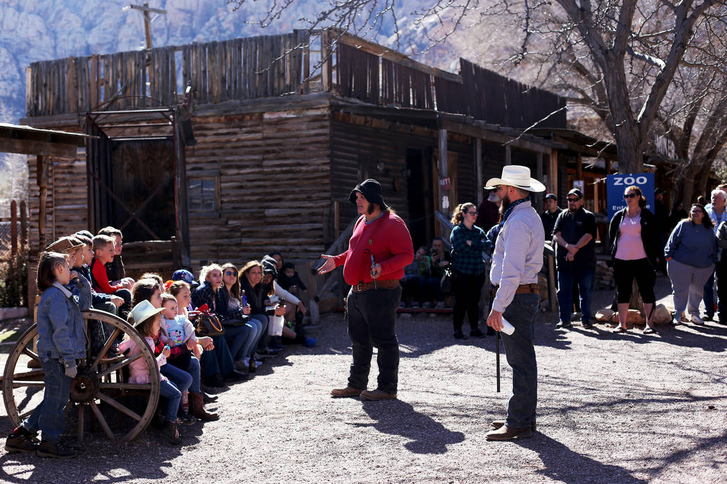 Actors address the crowd before a performance at Bonnie Springs in Blue Diamond, Friday, March 15, 2019. After decades of operation, the closing day of Bonnie Springs is Sunday, March 17. (Rachel ...