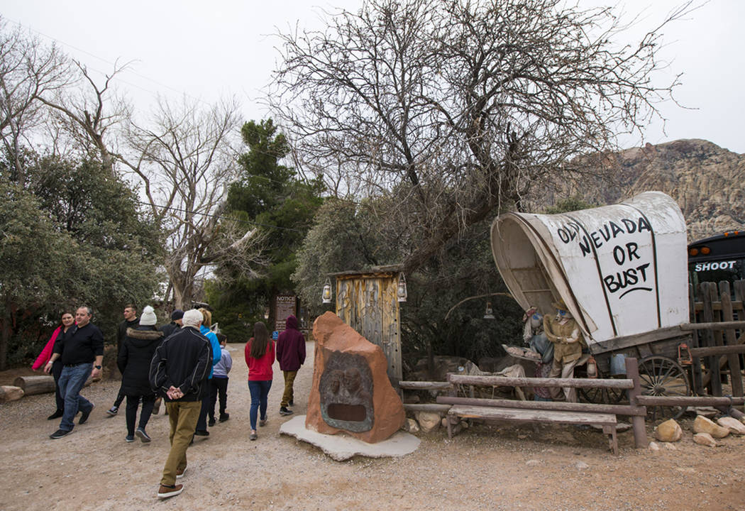 "FILE - In this Saturday, Jan. 12, 2019 file photo, visitors arrive at Bonnie Springs Ranch outside of Las Vegas. County officials have approved a developer's plan for homes at the replica ""Ol ..."