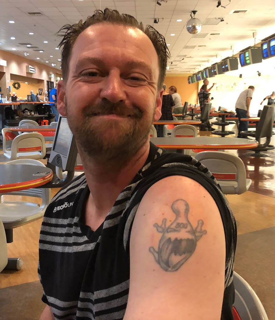 Tom Rysinski/Pahrump Valley Times Pahrump resident Anthony Matassa shows off the tattoo marking his first 300 game, which he rolled Jan. 20, 2002, his mother's birthday, when he was 16 years old.