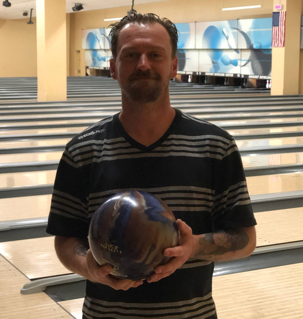 Tom Rysinski/Pahrump Valley Times Anthony Matassa, who now has six 300 games, on March 22 at the Pahrump Nugget Bowling Center.