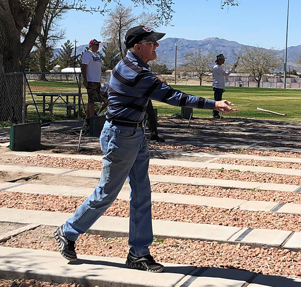 Tom Rysinski/Pahrump Valley Times Fred Kennedy, 90, of Las Vegas won two games, tied two games and lost once at the Pahrump Spring Open, his first sanctioned horseshoes tournament.