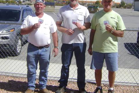 Mike Norton/Special to Pahrump Valley Times Class B champion Dave Barefield, tournament champion Neal Schulte and Class C champion Mike Nicosia after the Pahrump Spring Open horseshoes tournament ...