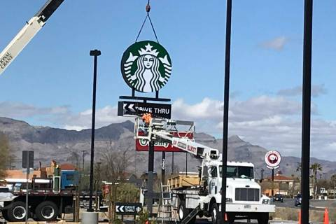 Terri Meehan/Special to the Pahrump Valley Times A sign was raised at the new Starbucks location under construction in Pahrump on March 7, 2019. According to a small sign in front of the future co ...