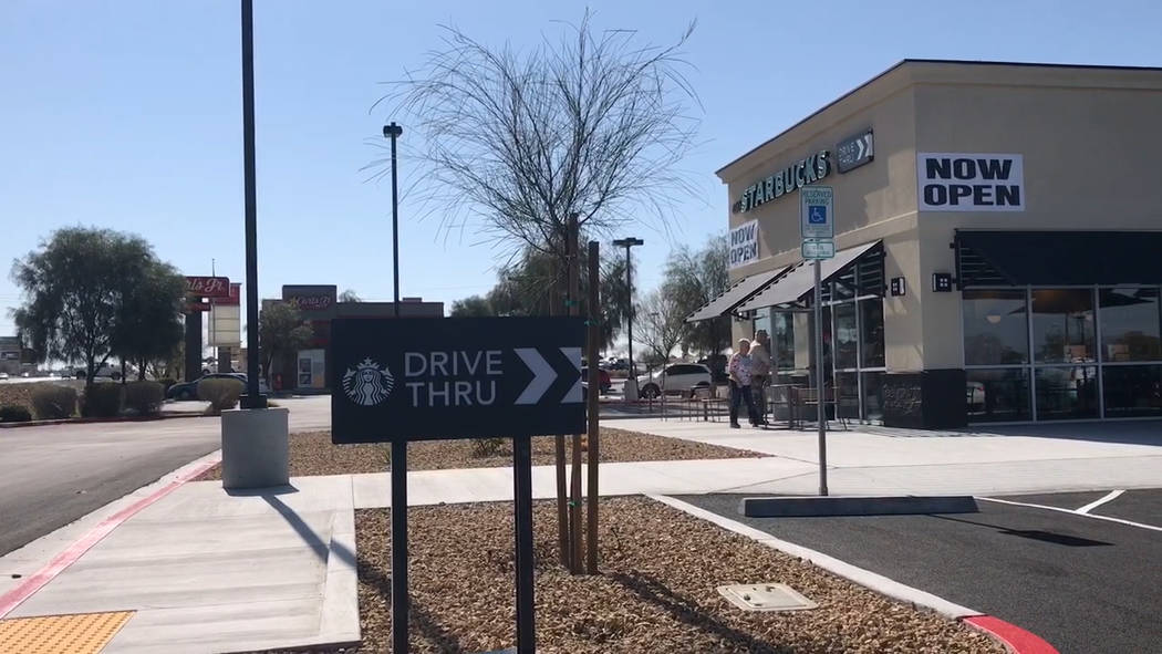 Jeffrey Meehan/Pahrump Valley Times Pahrump's newest Starbucks location opened at 460 S. Highway 160 on March 25, 2015. Construction began at the end of 2018.