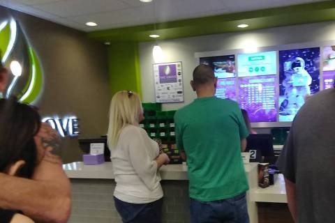 Selwyn Harris/Pahrump Valley Times There was a steady flow of customers throughout the day as officials with the Grove dispensary hosted a third anniversary, all-day celebration on Saturday March ...