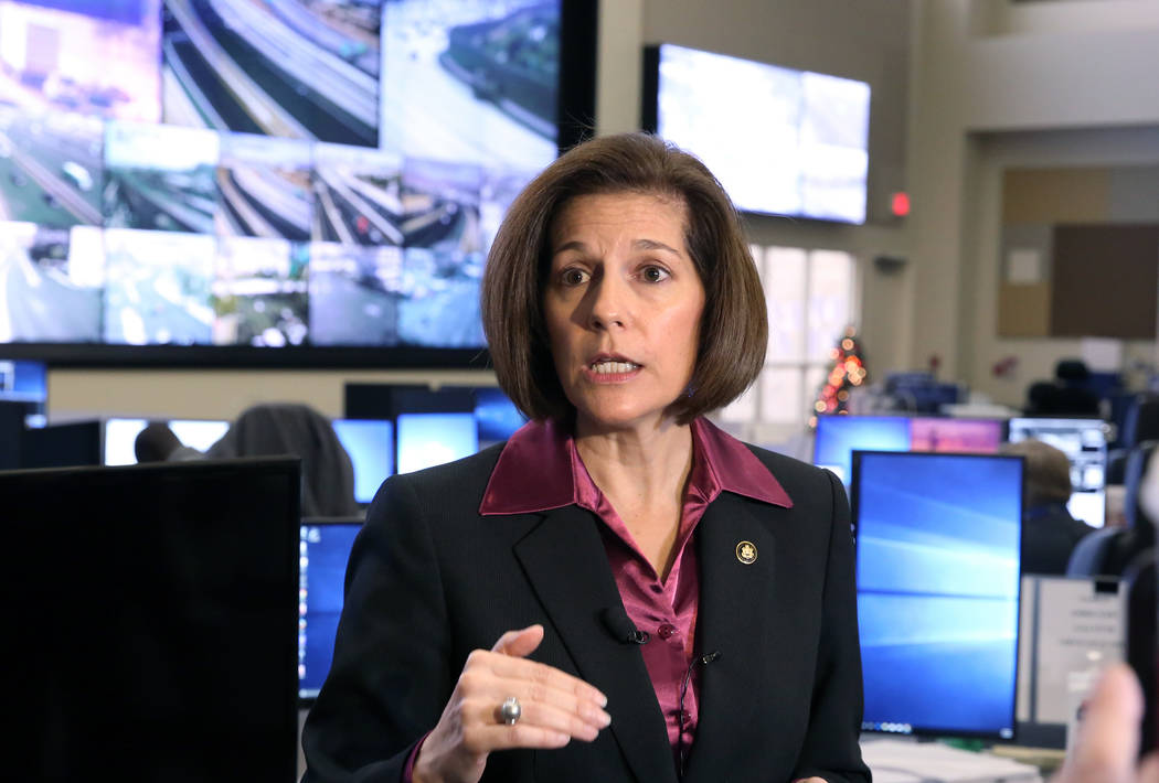 Bizuayehu Tesfaye/Las Vegas Review-Journal U.S. Sen. Cortez Masto, D-Nevada, was one of 10 Democrats to support Rick Perry's nomination as energy secretary in 2017.