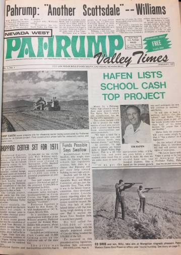 File Photo The front page of the first Pahrump Valley Times published in late December 1970. Th ...