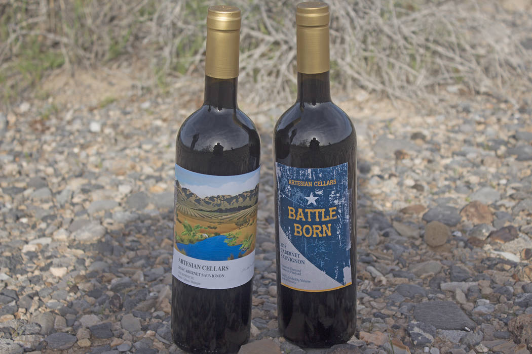 Jeffrey Meehan/Pahrump Valley Times Two new wine labels sit at the site where a future winery i ...