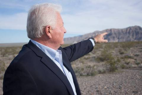 Jeffrey Meehan/Pahrump Valley Times Tim Burke points at the future site of where his grape vine ...