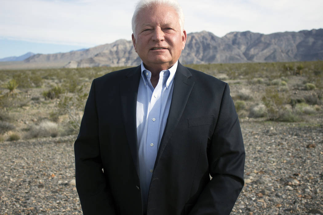 Jeffrey Meehan/Pahrump Valley Times Entrepreneur and Pahrump resident Tim Burke stands at the s ...