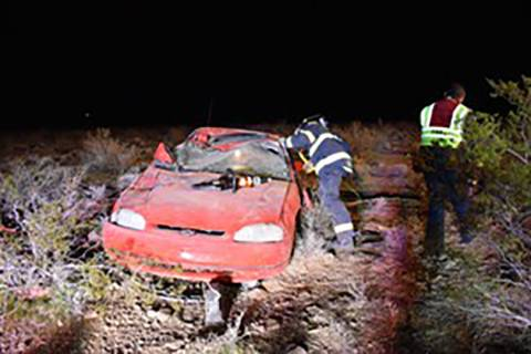 Special to the Pahrump Valley Times One person was mechanically entrapped after a rollover cras ...