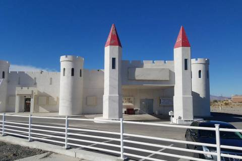 David Jacobs/Pahrump Valley Times A castle-style building at the corner of Homestead Road and ...