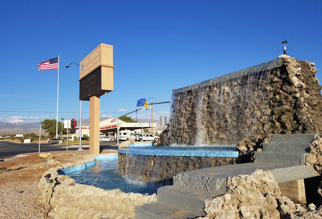 David Jacobs/Pahrump Valley Times Water pours from the Calvada fountain on Oct. 10, 2018. Nye C ...