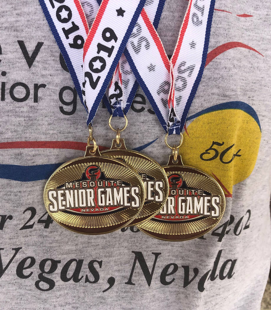 Tom Rysinski/Pahrump Valley Times Pahrump resident Marvin Caperton shows off the medals he won ...