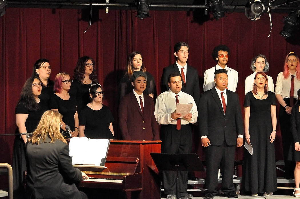 """Horace Langford Jr./Pahrump Valley Times Students sing Mark Pattersons """"The Garden of Music"""" at ..."""