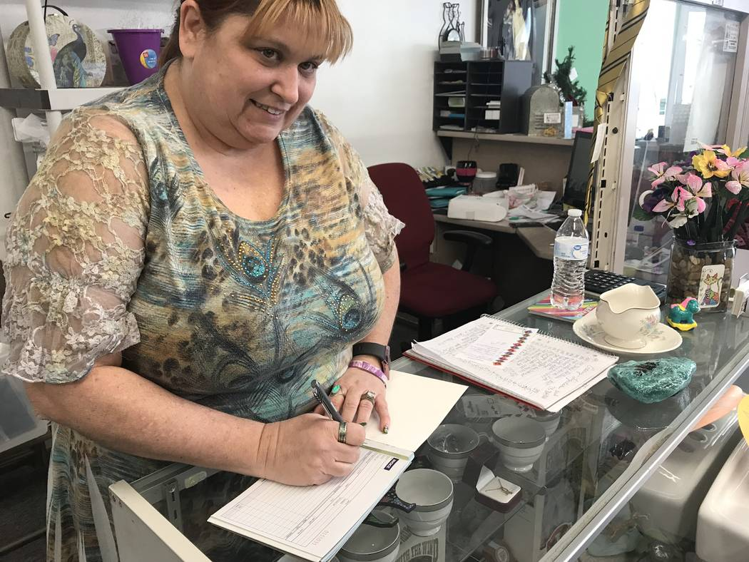 Jeffrey Meehan/Pahrump Valley Times Chanda Wieland, owner of the Crazy Calico, a new consignme ...