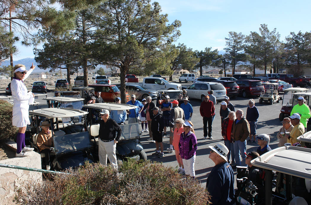 Robin Hebrock/Pahrump Valley Times A crowd of supporters gathered at the start of the Nevada Si ...