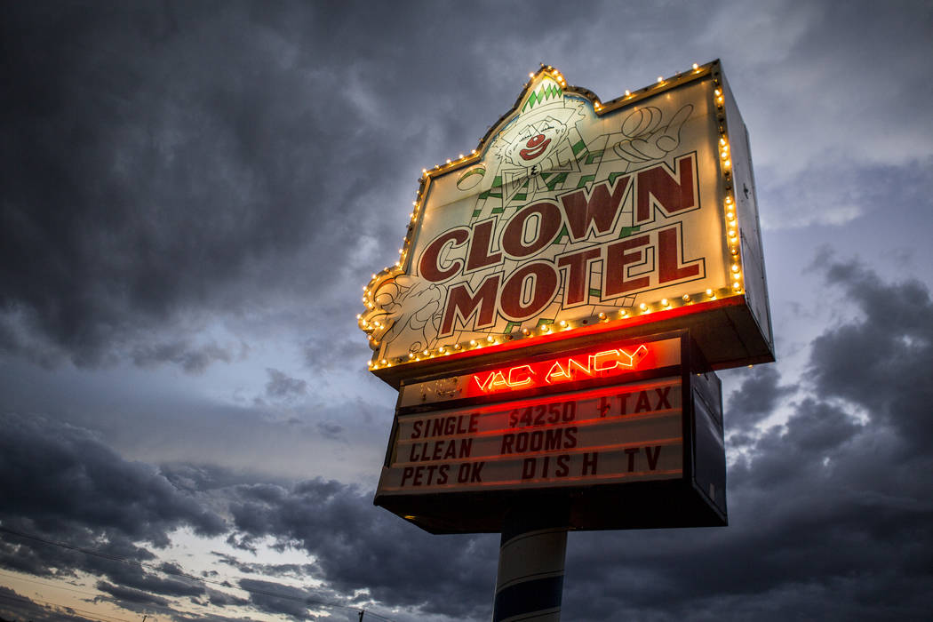 The Clown Motel sign glows as the sun sets in Tonopah on Tuesday, July 25, 2017. The Clown is c ...