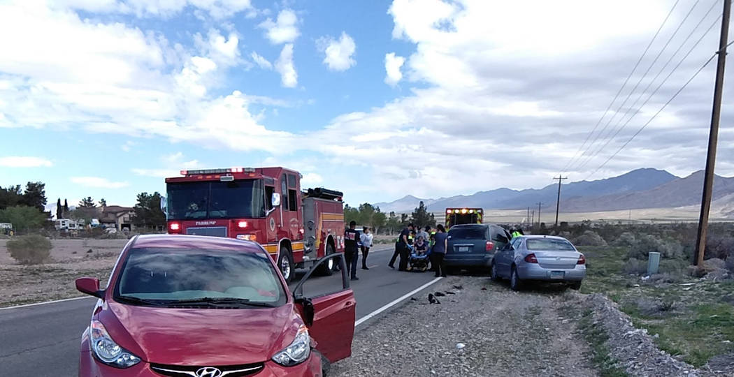 Selwyn Harris/Pahrump Valley Times Emergency crews were dispatched to a three-vehicle collision ...
